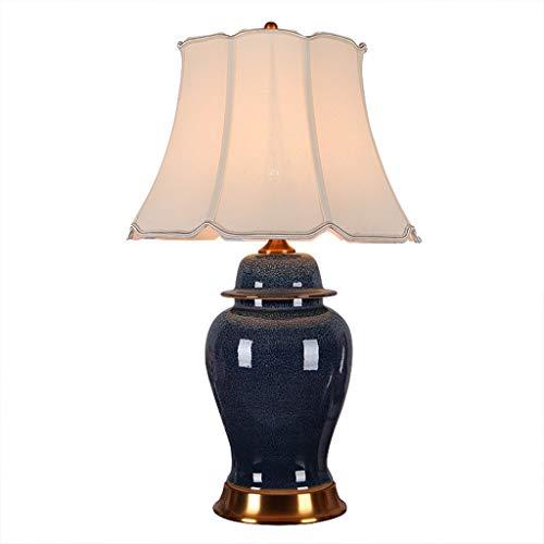 Tafellamp van keramiek, bedlampje voor slaapkamer decoratie tafellamp van koper lampenkap uit linnen blauw nagellak