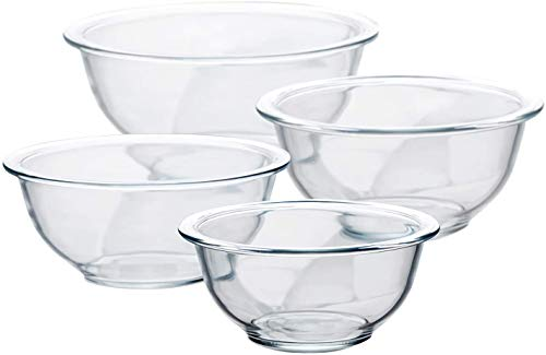 Luvan Glass Salad Bowls,Set of 4/Glass Mixing Bowls 1, 1.5, 2.5, 3.7 QT,Microwave,Freezer,Oven and Dishwasher Safe,for Mixing, Storage, Serving