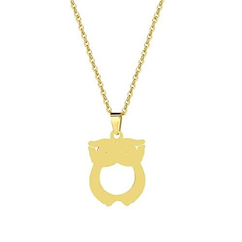 TTbaoz Collar de Cadena de Acero Inoxidable para niñas, Colgante de búho de clavícula de Titanio, Accesorios chapados en Oro de 18 Quilates