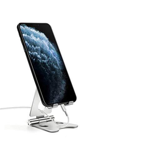 SANTER LABS Soporte Universal Reforzado Ajustable para Móvil,  Lector Libros Electrónico,  Tablet 4#- 7, 2# Multiángulo 0- 100 Grados, Diseño de Mesa, Apple (iPhone- iPad) Samsung Huawei Xiaomi (Silver)