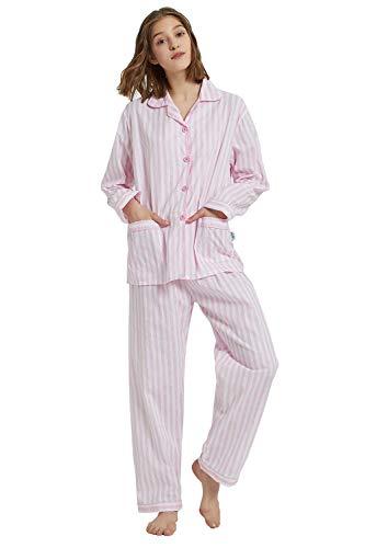 GLOBAL Mujer Pijamas Set de 2 Piezas 100% algodón acogedora Franela PJ Conjunto de Botones Loungewear Superior de los Pantalones