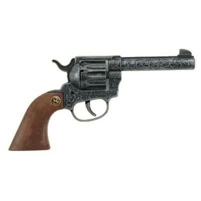J.G.Schrödel Magnum antik Spielzeugpistole oder Cowboy-Revolver ausZink und Kunststoff für Zündplättchen-Munition, in Box, 12 Schuss, 22 cm, grau / silber (203 8678)