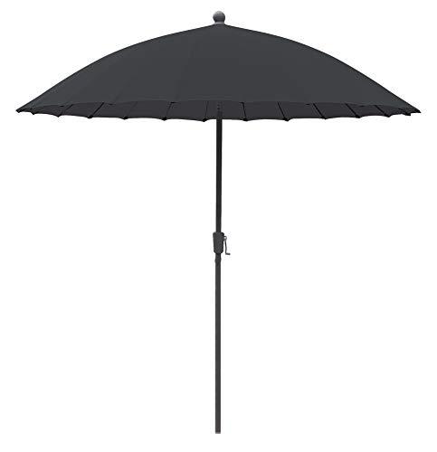 greemotion Sonnenschirm Sizilien, Ø 270 cm, großer Schirm mit Sonnenschutz UV50+, Marktschirm mit Kurbel, Gartenschirm anthrazit