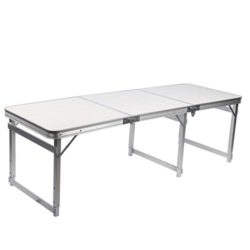 Wosune Mesa Plegable portátil de 6550g, Mesa Larga portátil, Mesa Plegable de aleación de Aluminio para el hogar, para reuniones Familiares, barbacoas, acampadas, buffets, picnics
