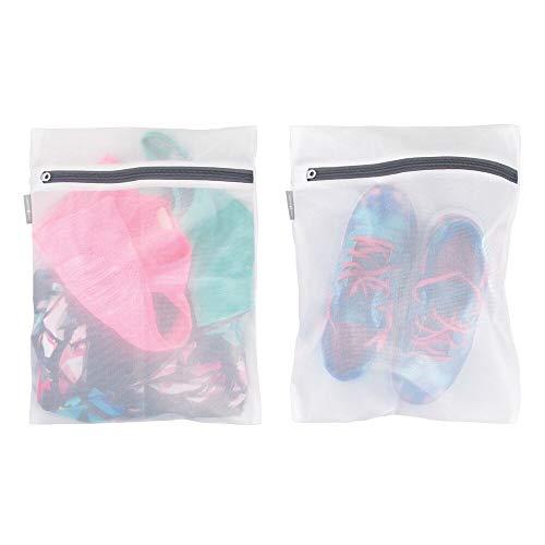 mDesign Medium Laundry Mesh Wash Bag - Fine Weave Fabric, Zipper Closure, Washing Machine and Dryer Safe, Protect Lingerie, Delicates, Underwear, Bras, Leggings - Great Travel Bag - 2 Pack - White