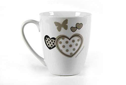Gicos Tazza Colazione Mug 360cc in Porcellana monamour Tortora Shabby Chic Latte caffè ELI-684241