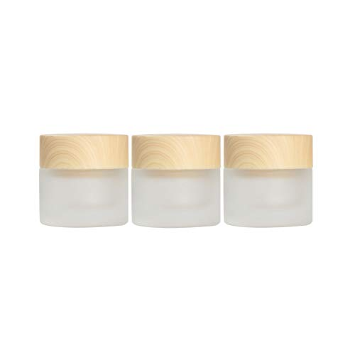 Empty Refillable Frosted Glass Cosmetic Jars