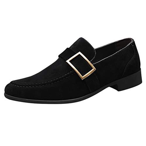 YWLINK Calzado De Negocios para Hombre,Hebilla De CinturóN, Zapatos Casuales De Ante,Calzado De Senderismo,Zapatos De Guisantes Mocasines,Gran TamañO Zapatos De Cuero para Hombres(Negro,45EU)