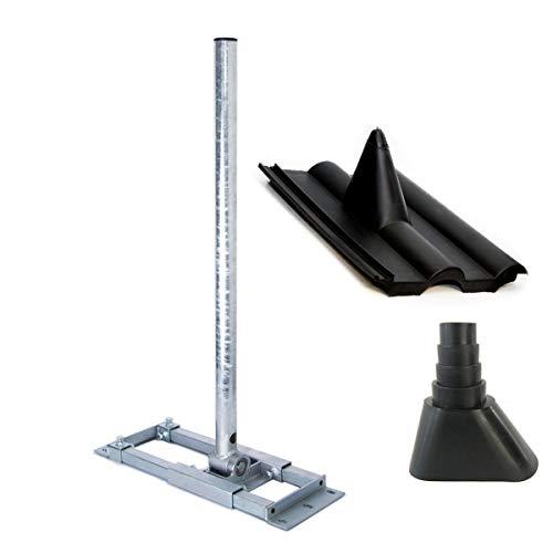 PremiumX Deluxe X130-48 Dachsparrenhalter 130 cm Mast Sparrenhalter für Satelliten-Antenne SAT-Schüssel Dach Halter mit Kabeldurchführung Frankfurter Pfanne Dach-Abdeckung Manschette schwarz