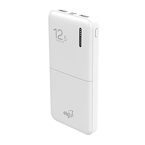 POWER BANK 12500MAH - 2 PORTAS USB - LED INDICADOR DE BATERIA - CABO MICRO USB INCLUSO - BRANCO - ELG PEDESTAIS - PB125