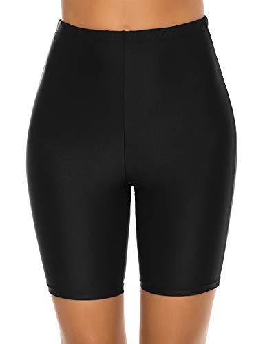 Lecieldusoir Women's Swim Shorts High Waist Long Boardshorts Swimsuit Capris Bathing Suit Tankini Beach Bottoms Black