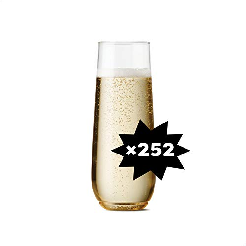 TOSSWARE 9oz Flute SET OF 252, Recyclable, Unbreakable & Crystal Clear Plastic Champagne Glasses