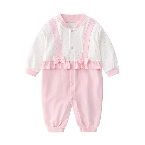 JinBei Pagliaccetto Neonato Bambina Pagliaccetti Pigiama Rosa Mese Cravatta Bow Cotone Manica Lunga Tutine Body Carino Tuta Bimba Bimbo 0-3 Mesi