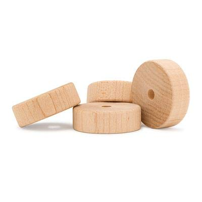 Wood Toy Wheels 2 Inch Diameter, 3/8 Inch Hole, Pack of 24, for Crafts and DIY Toy Cars, by Woodpeckers