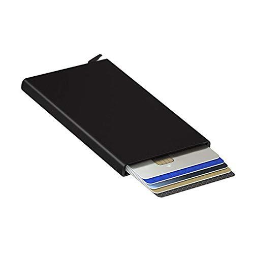 Caja de tarjeta de metal, caja de tarjeta bancaria, titular de tarjeta de crédito sin contacto, cartera minimalista para hombres ultra delgada, negro