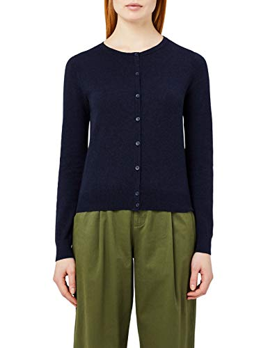 Marchio Amazon - MERAKI Cardigan Cotone Donna Girocollo, Blu (Navy), 44, Label: M