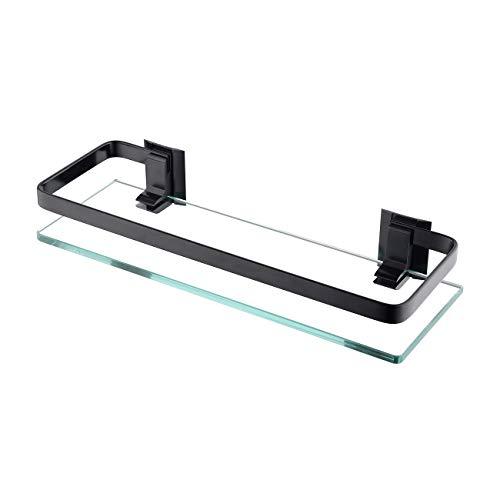 KES Bathroom Glass Shelf Aluminum Black Extra Thick Tempered Glass Rectangular 1 Tier Basket Wall Mounted, A4126A-BK