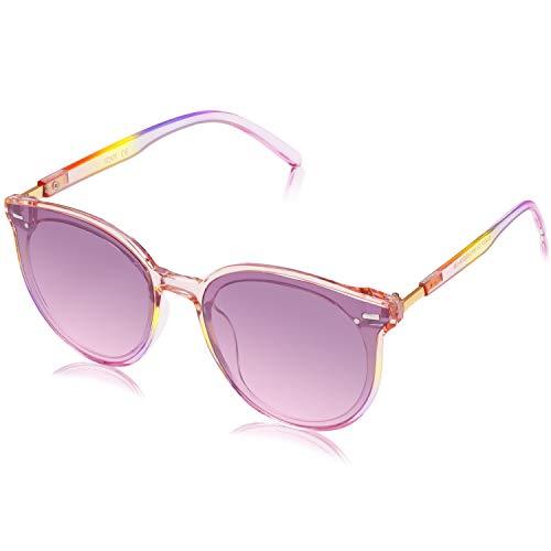 SOJOS Klassisch Retro Runde Sonnenbrille Damen Herren Groß Brille SJ2067 mit Klar Grau Rahmen/Grau Linse
