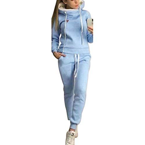 Chándal de 2 piezas para mujer, con manga larga, forro cálido, sudadera con capucha y pantalón deportivo de running, S-5XL azul claro S