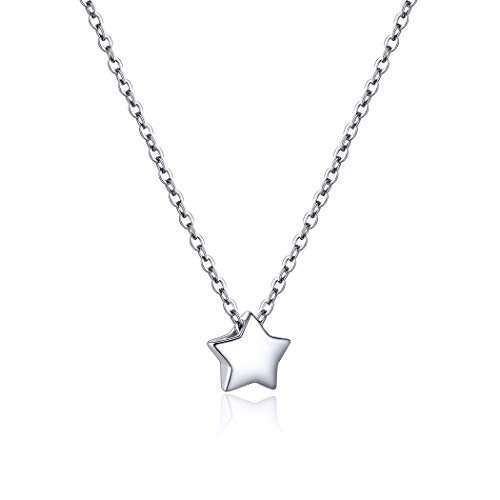 PROSILVER Silver Star Necklaces for Women White Gold Necklace Little Small Sterling Silver Jewelry