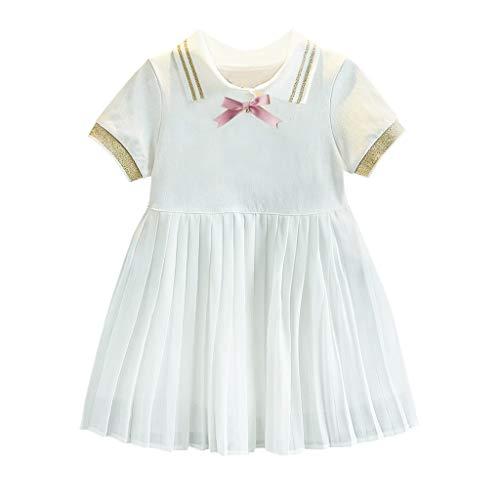 Cover Mädchen Kleid Sommer, Polo Kleider Kurzarmkleid mit Bowknot Faltenrock Sommerkleid