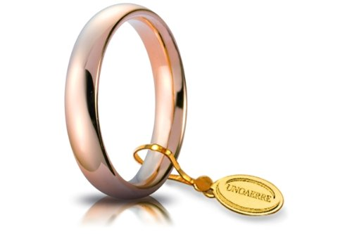 Fede Nuziale Unoaerre Comoda da 4 mm oro rosa 18kt dal n. 8 al n. 19
