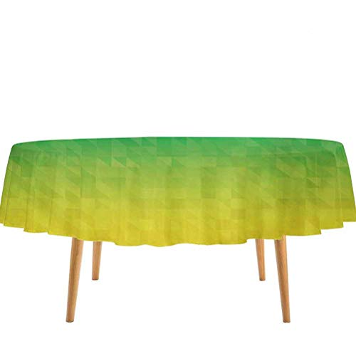 prunushome Yellow and Blue Table Covers Ombre Inspired Abstract Fractal Mosaic Form in Brazil Flag Colors for Birthday Party Decorations Blue Green Yellow – 70' Round