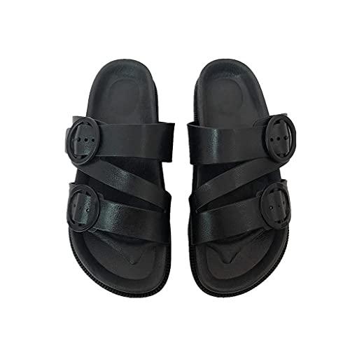 Sandalias de punta abierta de las señoras, hebilla redonda y plataforma de correa de cruz Sandalias y zapatillas, piscina cómoda y fuerte de ocio interior y exterior ( Color : Black , Size : 36EUR )