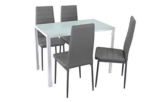 Noorsk Design Conjunto de Mesa de Cocina 105x60 + 4 sillas Clasik (Sillas Grises)