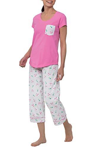 PajamaGram Capri Pajamas for Women - Pajama Set for Women, Pink, XS, 2-4
