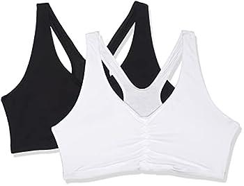 Hanes Women s Comfort-Blend Flex Fit Pullover Bra  Pack of 2 ,Black/White,XX-Large