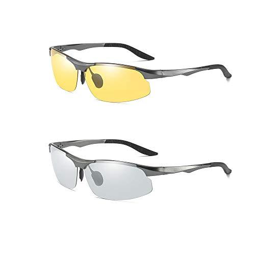CX ECO Polarisierte Gläser Sport-Sonnenbrillen Driving Brillen Preiswert 2 Packungen HD-Nachtsichtgläser Superlight-Rahmen Anti-Blenden-Blendschutz Autofahrer Schutzverfärbungsbrille,Gray