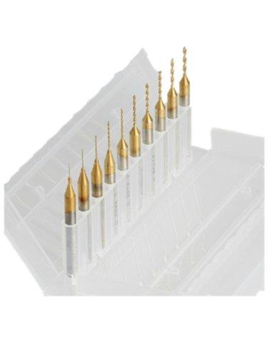 Autek 10 nitrure de titane carbure revêtu 0.2mm-1.1mm PCB Dremel routeur CNC Forets (ZT0.2-1.1mm-10Ti)