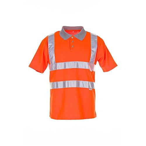 Größe S Herren Planam Warnschutz Poloshirt 2-farbig orange grau Modell 2098
