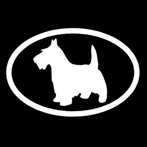 A/X 15,2 * 10 CM Perro Terrier escocés Creativo Animal Pegatina elíptica para Coche Pegatinas Decorativas de Ventana de Dibujos Animados Bonitos C6-1207Plata