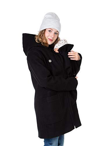 Viva la Mama - 3in1 Wintermantel Babytragen Tragejacke Winter Umstandsmantel warm - Valentin - schwarz - XL