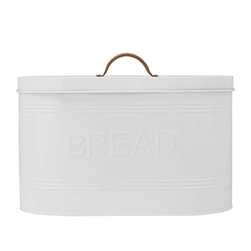 Amici Home Rustic Kitchen Metal Bread Storage Bin, 288 oz, White