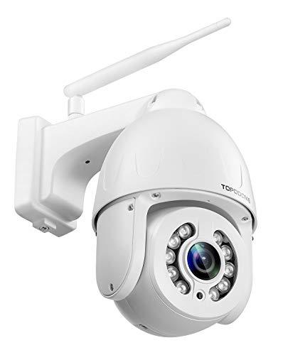 TOPODOME PTZ IP Kamera 5MP Dome WLAN Outdoor, 1920P HD Überwachungskamera Aussen Videoüberwachung, 5-facher Optischer Zoom, Farbe Nachtsicht, Kreuzfahrt/ ONVIF/ RTSP, 128G SD-Kartenunterstützung, Weiß