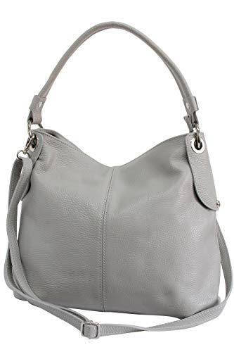 AMBRA Moda Damen echt Ledertasche Handtasche Schultertasche Beutel Shopper Umhängtasche GL012 (Grau)