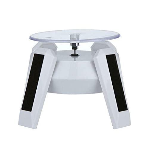 Gergxi Energía solar 360 grados joyería giratoria soporte de exhibición girar la placa de mesa LED luz