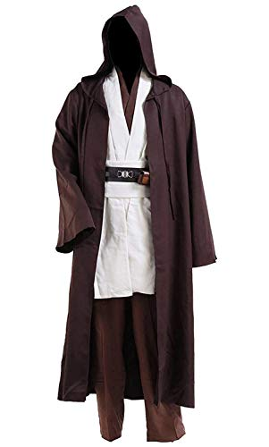 Tunic Hooded Robe Halloween Cosplay Costume for Mens Three Versions (Large, White Full Set)
