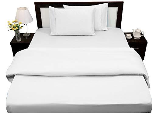 RajLinen Parure de lit 100 % coton égyptien 400 fils pour lit Queen size – Résistant aux taches – 4 pièces (blanc solide) 40,6 cm