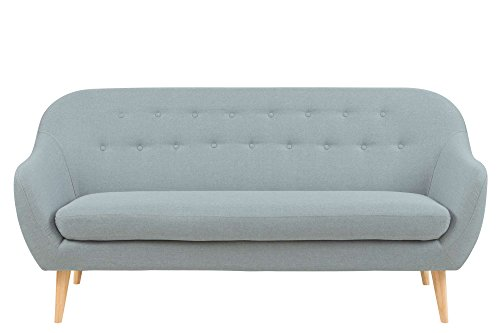 lifestyle4living Sofa, Couch, Sofagarnitur, Polstergarnitur, Couchgarnitur, Stoffsofa, Sofacouch, Wohnzimmersofa, Stoffgarnitur, Stoff, hellgrau, Holzbeine