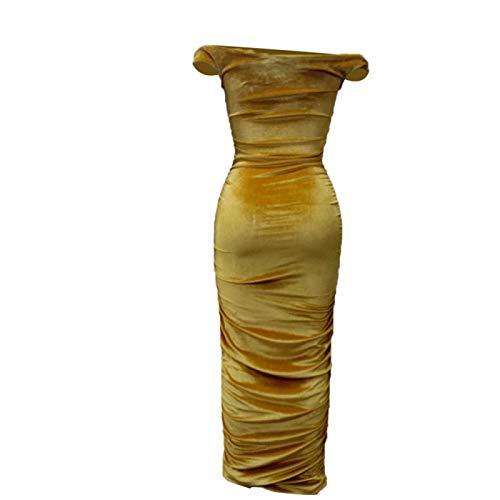 Phosphor Vestido de noche para mujer, sin tirantes, elegante, plisado, para dama de honor, sexy, fiesta, cóctel, vestido de noche, para niñas y mujeres