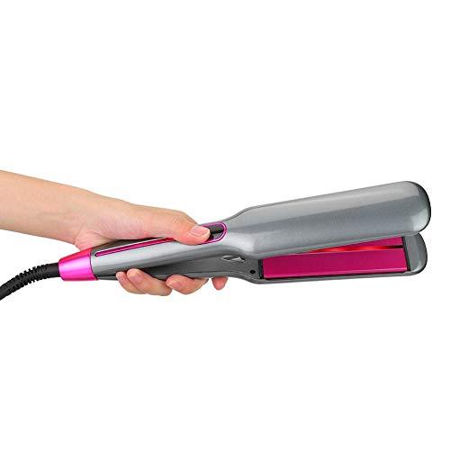 Plancha de pelo infrarroja 2 en 1, LED Cerámica eléctrica Infrarrojo negativo Ion Cuidado del cabello Rizado de cabello Violeta LCD Placa ancha Plancha Herramienta de peluquería(NOSOTROS)