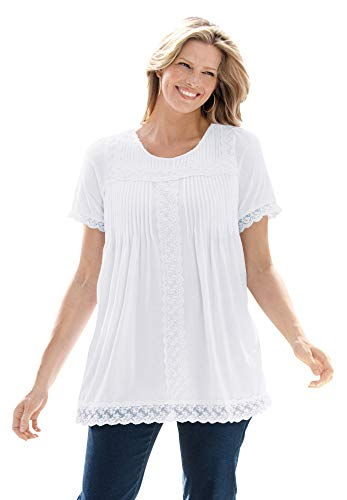 Woman Within Women's Plus Size Lace-Trim Pintucked Tunic - 5X, White