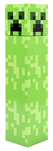 Minecraft - Botella de Agua de Minecraft - Botella de Agua con Diseño del Creeper Verde Pixelado de Minecraft - Botellas de Agua para Niños, Botella de Agua Reusable - 650 ml - Mercancía de Minecraft