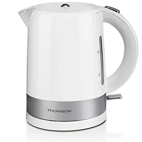 THOMSON Wasserkocher 1 Liter - weißer Wasserkocher mit Kalkfilter, Wasserkocher kabellos, schnell & energiesparend, Schnellkochfunktion für heißes Wasser in kurzer Zeit