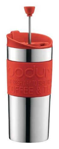 Bodum Travel K 11067-294 Press Set Kaffeebereiter mit Extra Trinkaufsatz 0,35 L, Edelstahl, Rot