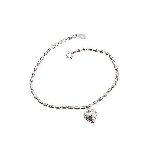 Vrouwen armband 925 zilveren liefde hart armband Hart armbanden voor vrouwen Beste sieraden cadeau Rijst graan ketting armband Cadeaus voor moeder en vriendin